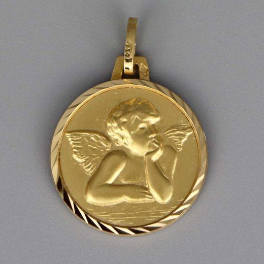 Aubry Cadoret Medaille Bapteme Or 18 Carats Jaune Ange 2 Cadeaux De Famille
