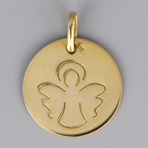 Aubry Cadoret Medaille Bapteme Or 18 Carats Jaune Ange Au Trait Cadeaux De Famille