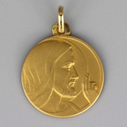 Aubry Cadoret Medaille Bapteme Or 18 Carats Jaune Chist Benissant Cadeaux De Famille