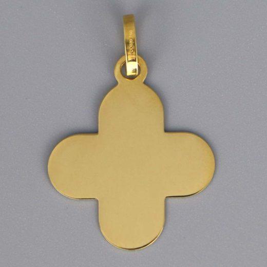 Aubry Cadoret Medaille Bapteme Or 18 Carats Jaune Croix Arrondie Cadeaux De Famille