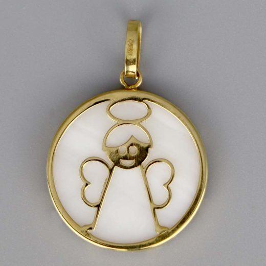 Aubry Cadoret Medaille Bapteme Or 18 Carats Jaune Nacre Ange Cadeaux De Famille