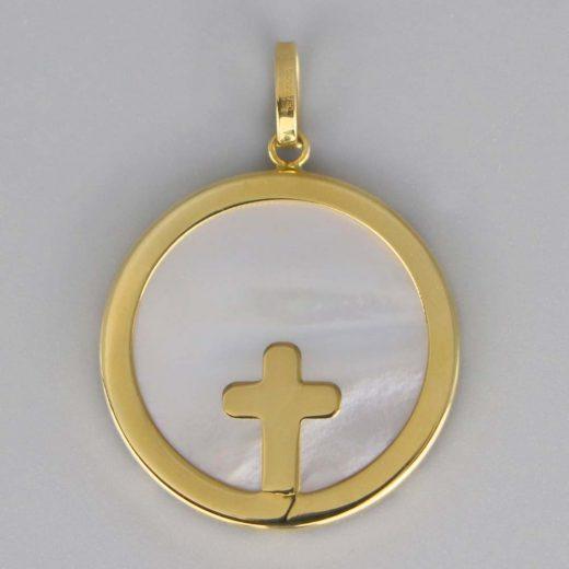 Aubry Cadoret Medaille Bapteme Or 18 Carats Jaune Nacre Croix Large Cadeaux De Famille