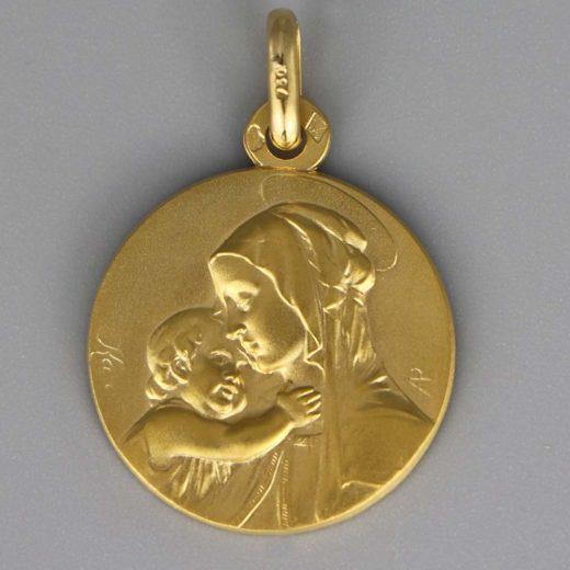 Aubry Cadoret Medaille Bapteme Or 18 Carats Jaune Vierge A L Enfant Boticelli Cadeaux De Famille