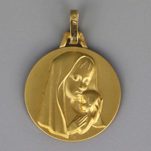 Aubry Cadoret Medaille Bapteme Or 18 Carats Jaune Vierge A L Enfant Moderne Cadeaux De Famille