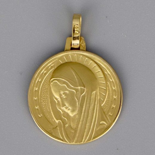 Aubry Cadoret Medaille Bapteme Or 18 Carats Jaune Vierge Aureolee Cadeaux De Famille