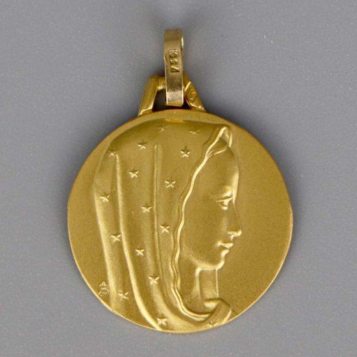 Aubry Cadoret Medaille Bapteme Or 18 Carats Jaune Vierge Etoile Cadeaux De Famille