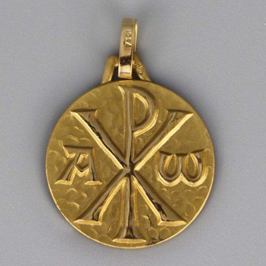 Aubry Cadoret Medaille Bapteme Or 9 18 Carats Jaune Chrisme Cadeaux De Famille
