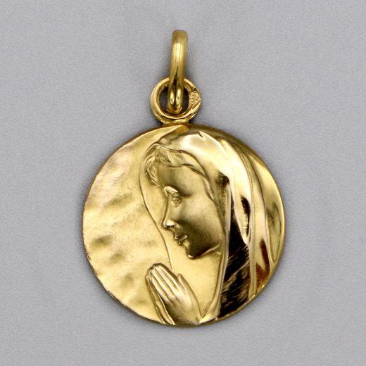 Aubry Cadoret Medaille Bapteme Or 9 Carats Jaune Vierge En Priere 15mm Cadeaux De Famille