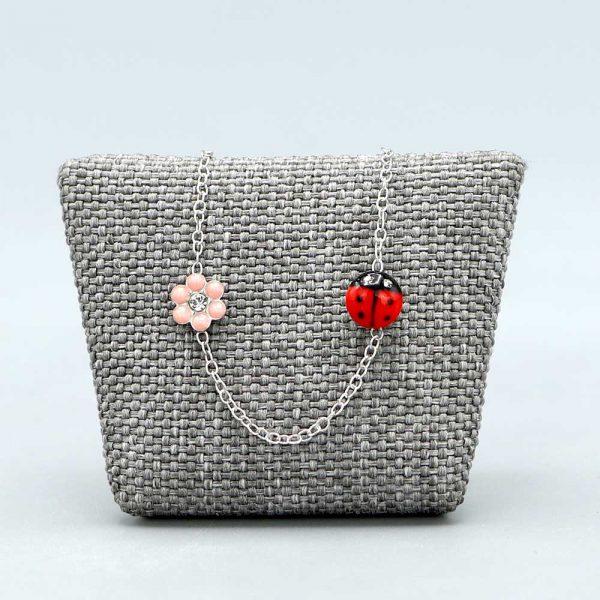 Bracelet Bébé Argent Massif Rhodie Coccinelle Fleur Rose Cadeaux De Famille