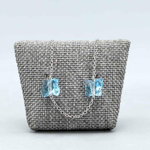 Bracelet Bébé Argent Massif Rhodie Papillons Cristal Bleu Cadeaux De Famille