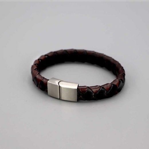 Bracelet Homme Cuir Acier Brosse Bicolore Chocolat Noir Cadeaux De Famille