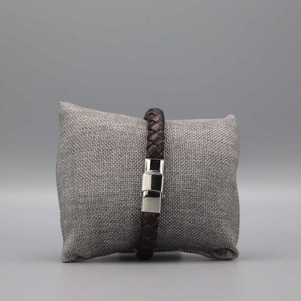 Bracelet Homme Cuir Acier Fils Torsades Cadeaux De Famille (2)