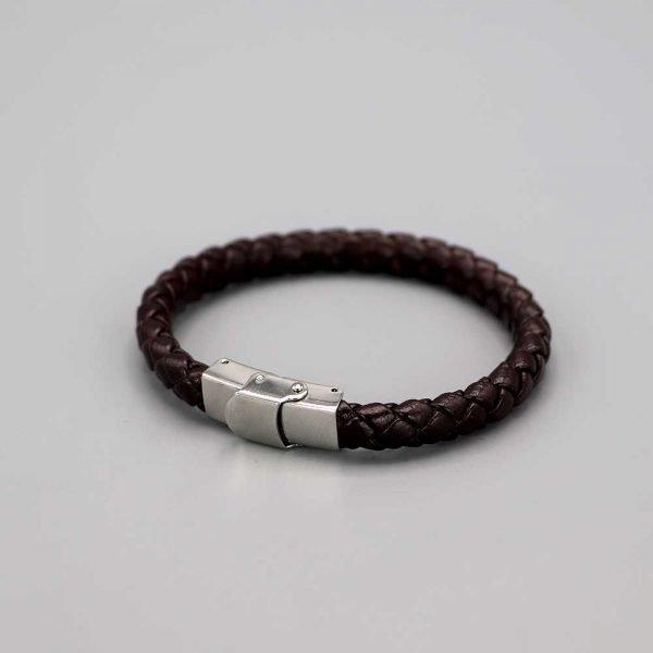Bracelet Homme Cuir Acier Fils Torsades Cadeaux De Famille