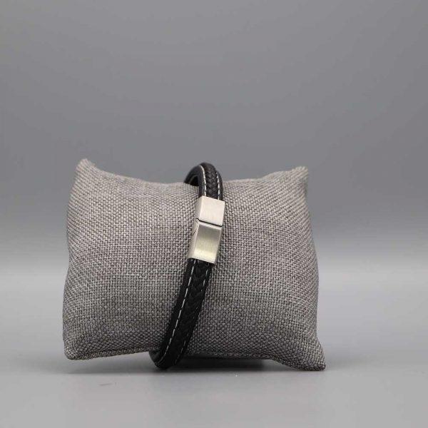 Bracelet Homme Cuir Acier Plat Et Tresse Cadeaux De Famille (2)