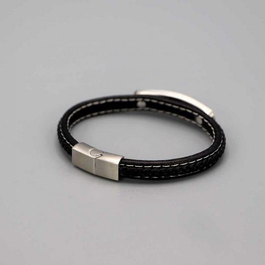 Bracelet Homme Cuir Acier Plat Et Tresse Cadeaux De Famille