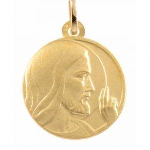 Médaille Christ Bénissant en or jaune 18 carats