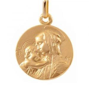 Médaille Vierge à l'Enfant en or jaune 18 carats