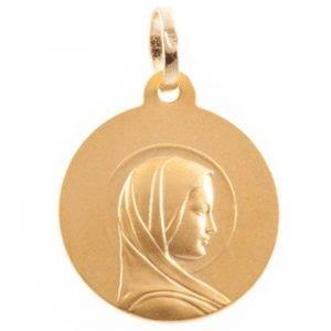 Médaille Vierge Jeune en or jaune 18 carats