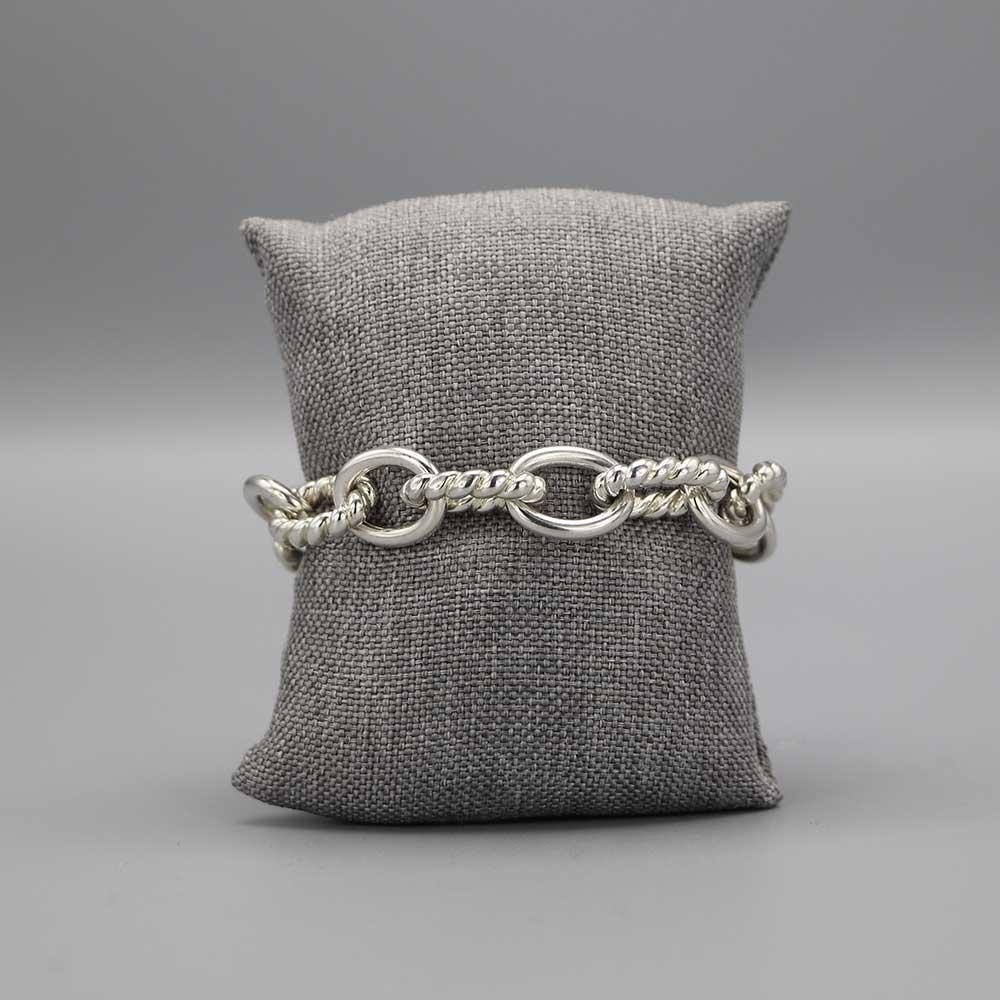 Bracelet Mailles Torsadees Lisses Argent Massif