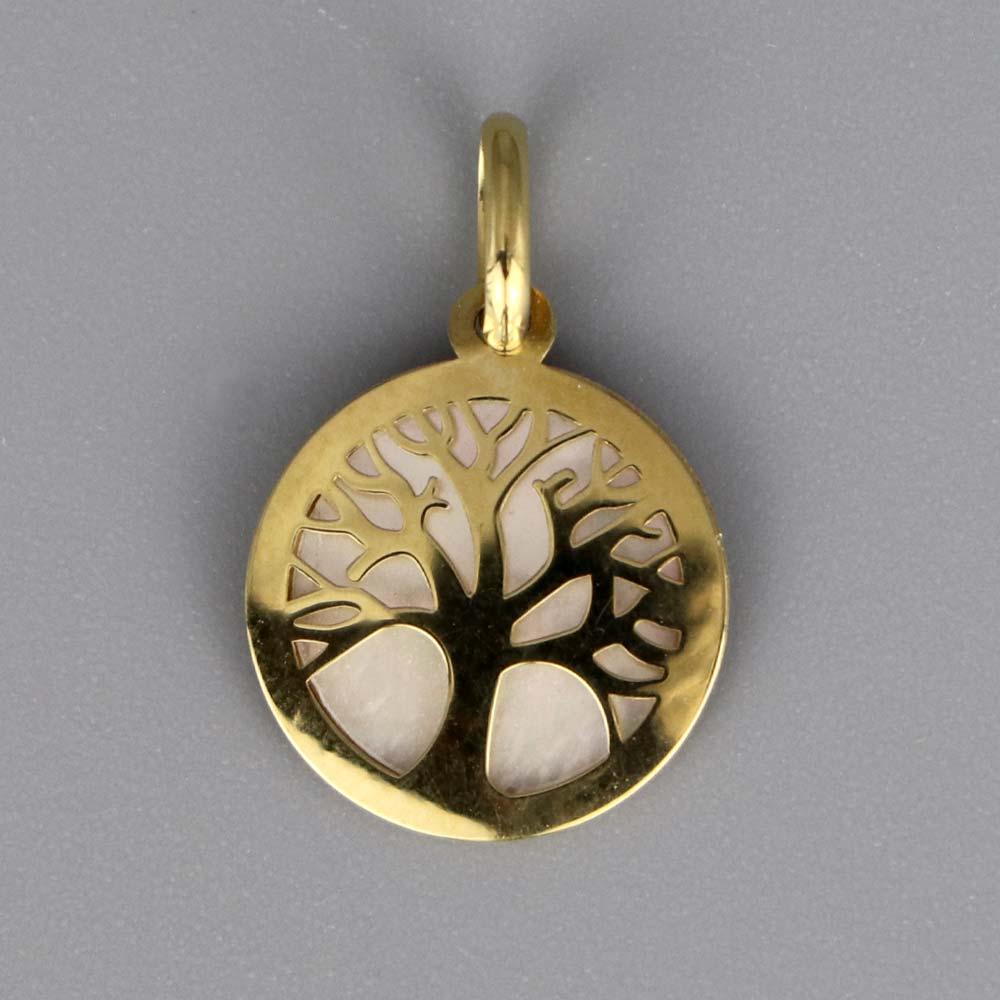 Aubry Cadoret Medaille Bapteme Or 9 18 Carats Blanc Nacre Arbre De Vie Cadeaux De Famille
