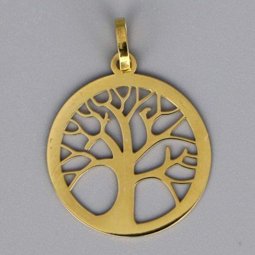 Aubry Cadoret Medaille Bapteme Or 9 Carats Blanc Arbre De Vie Ajouree Cadeaux De Famille