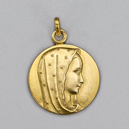 Aubry Cadoret Medaille Bapteme Or 9 Carats Jaune Vierge Etoile Cadeaux De Famille