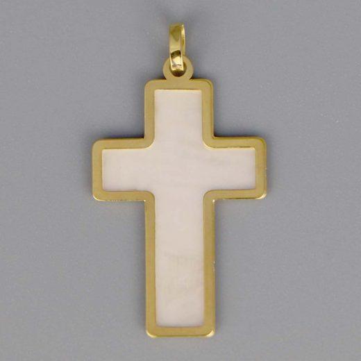 Aubry Cadoret Medaille Bapteme Or 18 Carats Jaune Nacre Croix Cadeaux De Famille