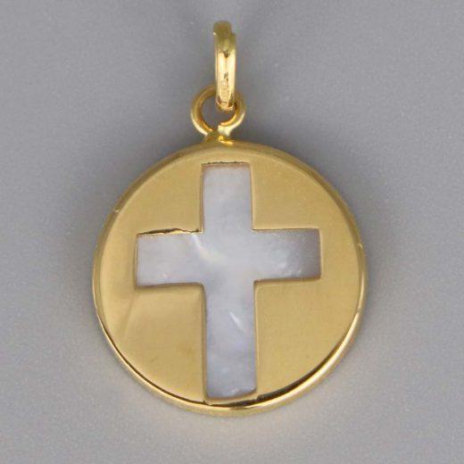 Aubry Cadoret Medaille Bapteme Or 18 Carats Jaune Ronde Croix Ajouree Cadeaux De Famille