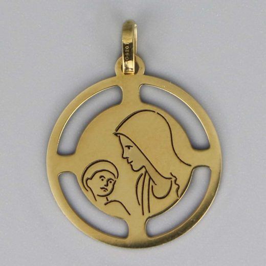 Aubry Cadoret Medaille Bapteme Or 18 Carats Jaune Vierge A L Enfant Camille Cadeaux De Famille