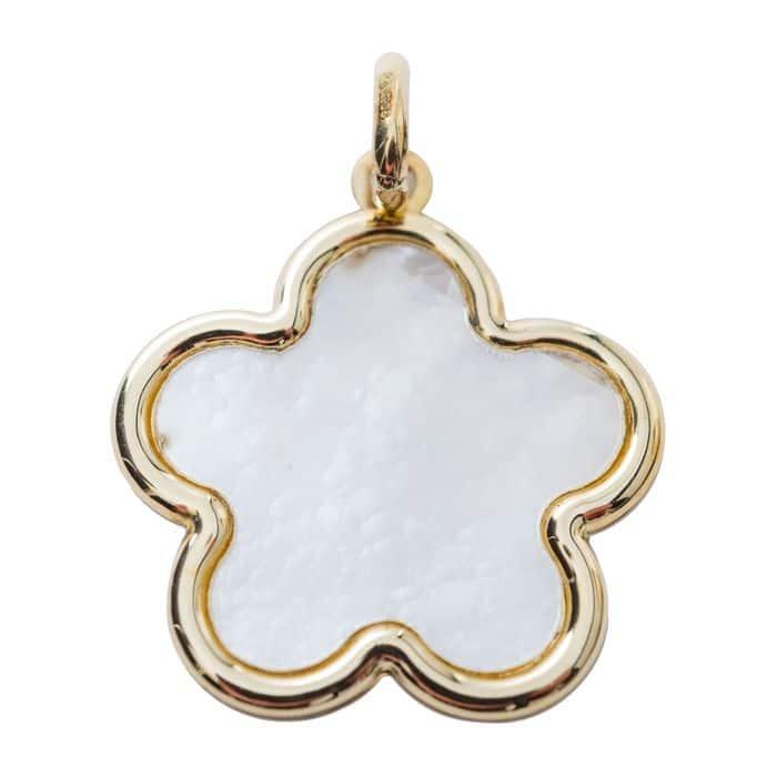Medaille Nacre et Fleur or jaune 9 carats