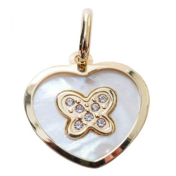 118-119 Medaille Nacre et Coeur avec grand papillon