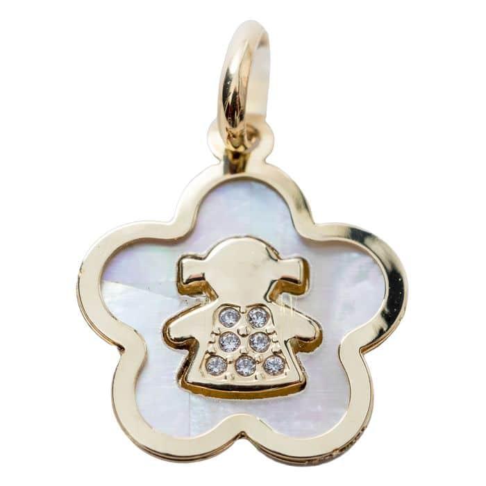 Medaille Nacre Fleur et petite fille or jaune 18 carats