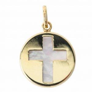 Medaille Croix or et Nacre