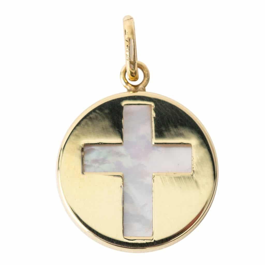 Medaille Croix or et Nacre