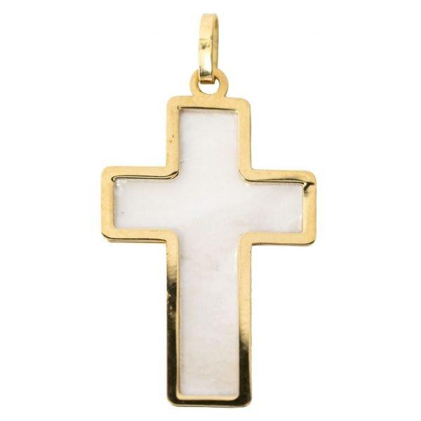Medaille Croix Longue Or et Nacre