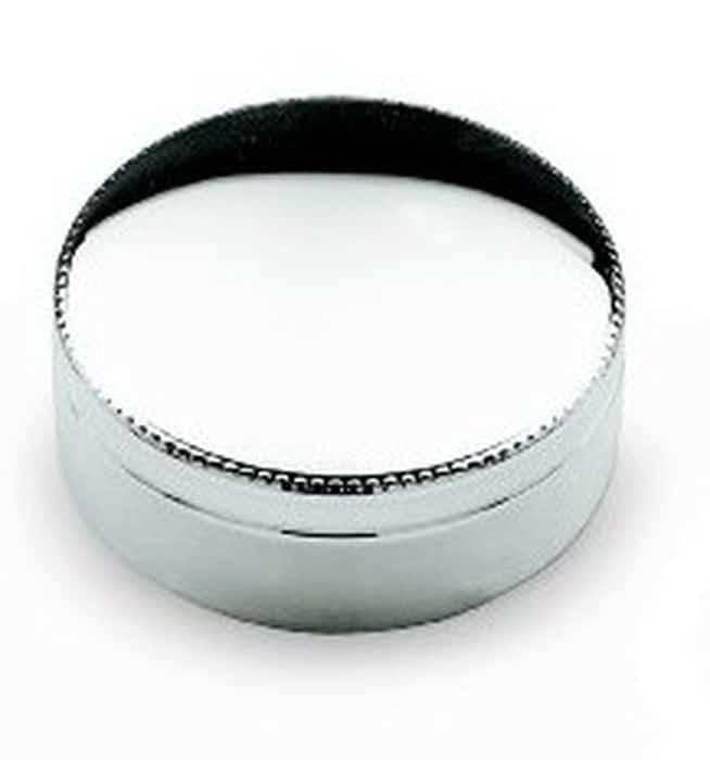 Boite metal argente ronde perles