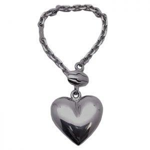 Porte clés Coeur Plein Argent Massif