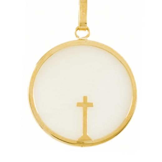Médaille Nacre Croix Fine en or jaune 18 carats