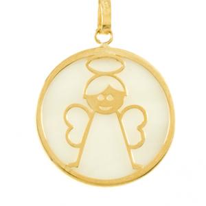 Médaille Nacre Ange en or jaune 18 carats