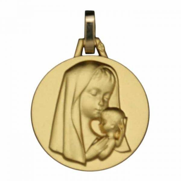 Médaille Vierge à l'Enfant Moderne en or jaune 18 carats
