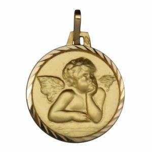 Médaille Ange Rêveur en or jaune 18 carats