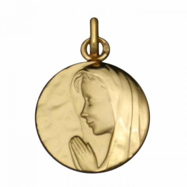 Medaille Vierge en Priere en or jaune 9 carats