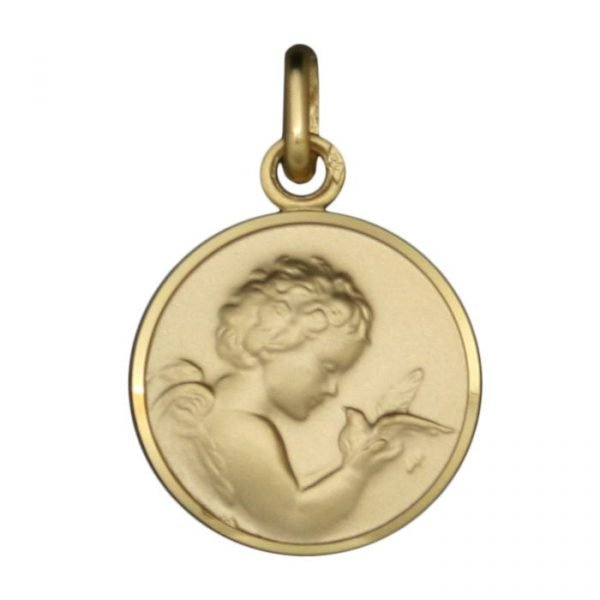Médaille Ange et Colombe en or jaune 9 carats