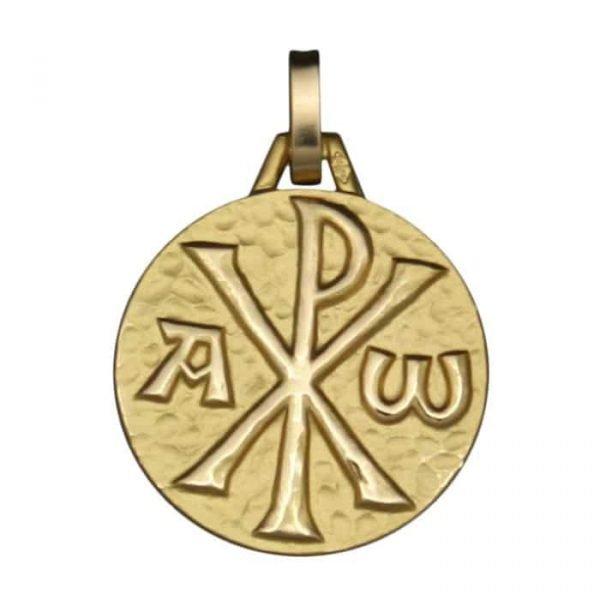 Medaille Chrisme en or jaune 9 carats