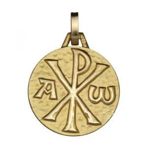 Médaille Chrisme en or jaune 18 carats