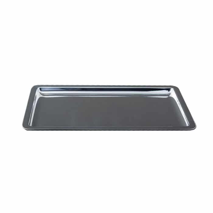Plateau métal argenté rectangle 30 x 23 cm