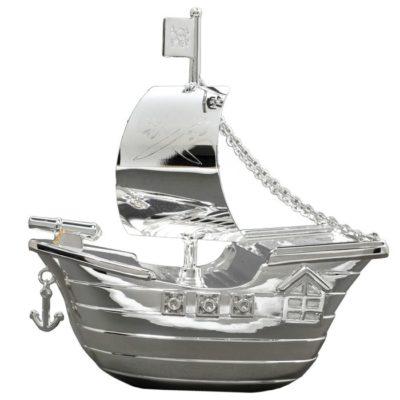 Tirelire bateau pirate en métal argenté