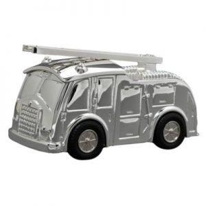 Tirelire Camion pompier en métal argenté