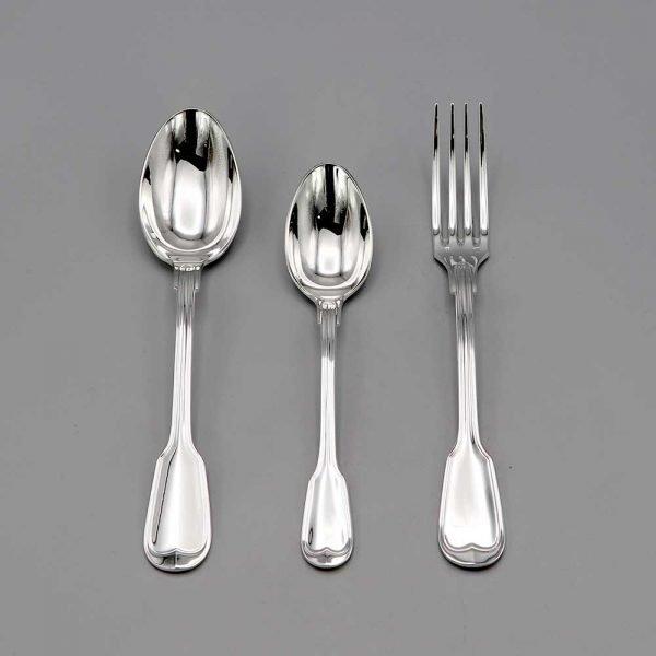 Aubry Cadoret Couverts Bebe Metal Argente Filet Ancien Set De 3 Pieces 2