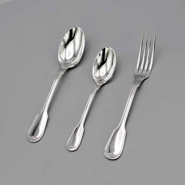 Aubry Cadoret Couverts Bebe Metal Argente Filet Ancien Set De 3 Pieces